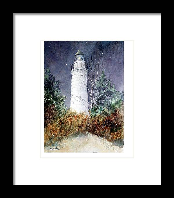 Door County Framed Print featuring the painting Cana Island Light House by Ken Marsden