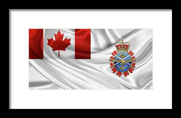 'military Insignia & Heraldry' By Serge Averbukh Framed Print featuring the digital art Canadian Armed Forces - C A F Badge Over Flag by Serge Averbukh
