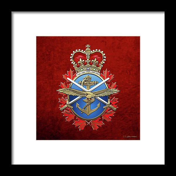 'military Insignia & Heraldry' By Serge Averbukh Framed Print featuring the digital art Canadian Armed Forces - C A F Badge Over Red Velvet by Serge Averbukh