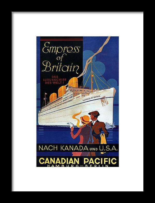 Canadian Pacific Framed Print featuring the mixed media Canadian Pacific - Hamburg-berlin - Empress Of Britain - Retro Travel Poster - Vintage Poster by Studio Grafiikka