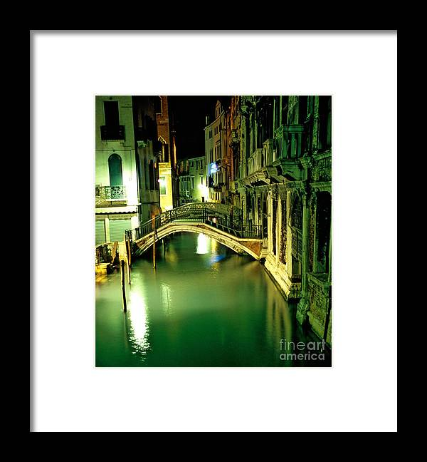 Venice Framed Print featuring the photograph Canal And Bridge In Venice At Night by Michael Henderson