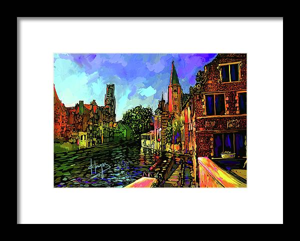 Landscape Framed Print featuring the painting Canal In Bruges by DC Langer