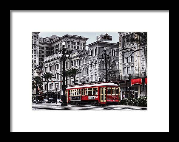 Nola Framed Print featuring the photograph Canal Street Trolley by Tammy Wetzel