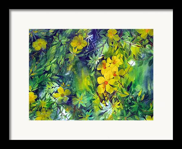 Tropical Plant. . Framed Print featuring the painting Canarias by Maritza Bermudez