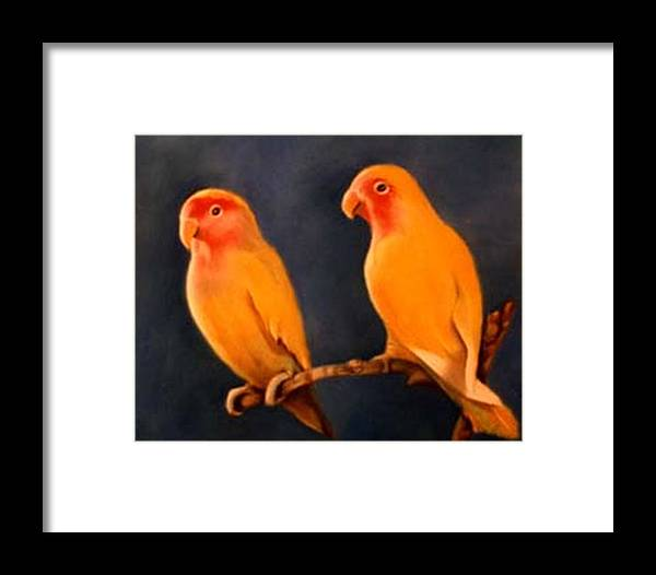 Canaries Framed Print featuring the pastel Canaries by Jordana Sands
