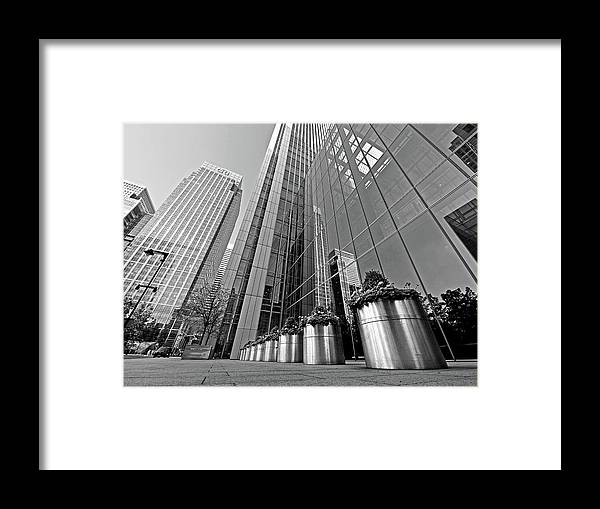 London Framed Print featuring the photograph Canary Wharf Financial District In Black And White by Gill Billington