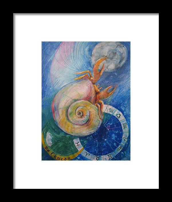 Drawing Framed Print featuring the drawing Cancer by Brigitte Hintner