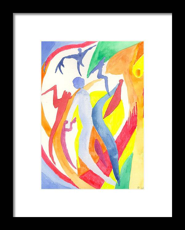 Abstract Framed Print featuring the painting Cancun 4 by Peter Shor