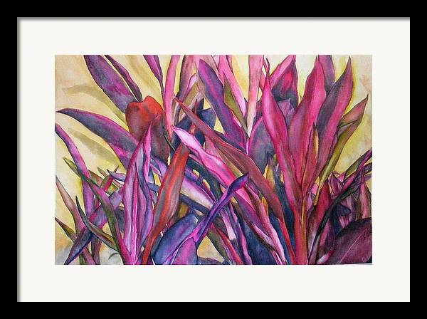 Floral Framed Print featuring the painting Cancun Fires by Diane Ziemski