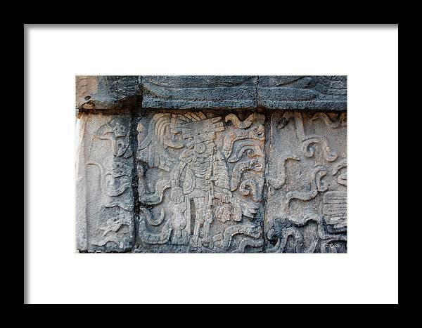 Cancun Framed Print featuring the photograph Cancun Mexico - Chichen Itza - Mosaic Wall by Ronald Reid