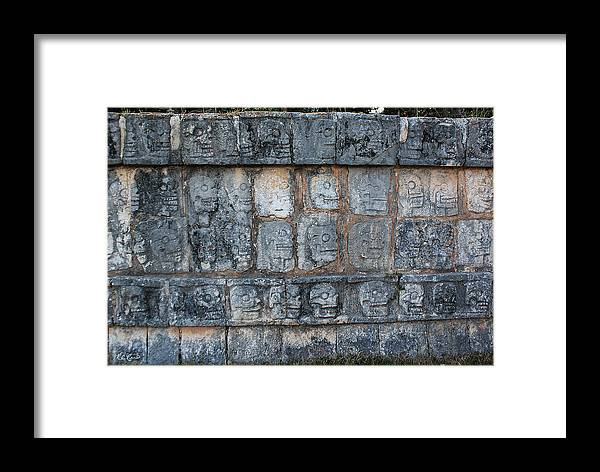 Cancun Framed Print featuring the photograph Cancun Mexico - Chichen Itza - Skull Platform by Ronald Reid