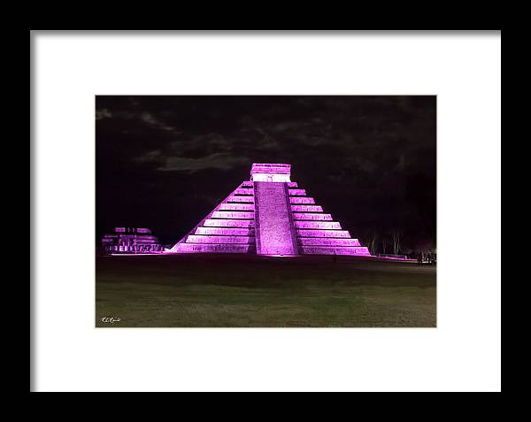 Cancun Framed Print featuring the photograph Cancun Mexico - Chichen Itza - Temple Of Kukulcan-el Castillo Pyramid Night Lights 2 by Ronald Reid