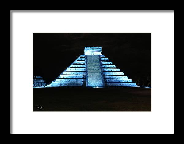 Cancun Framed Print featuring the photograph Cancun Mexico - Chichen Itza - Temple Of Kukulcan-el Castillo Pyramid Night Lights 3 by Ronald Reid
