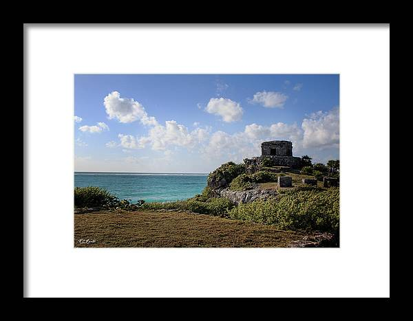 Cancun Framed Print featuring the photograph Cancun Mexico - Tulum Ruins - Temple For God Of The Wind 1 by Ronald Reid
