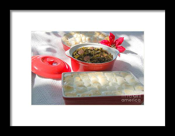 Candied Yams Framed Print featuring the photograph Candied Yams And Southern Greens by Mia Alexander