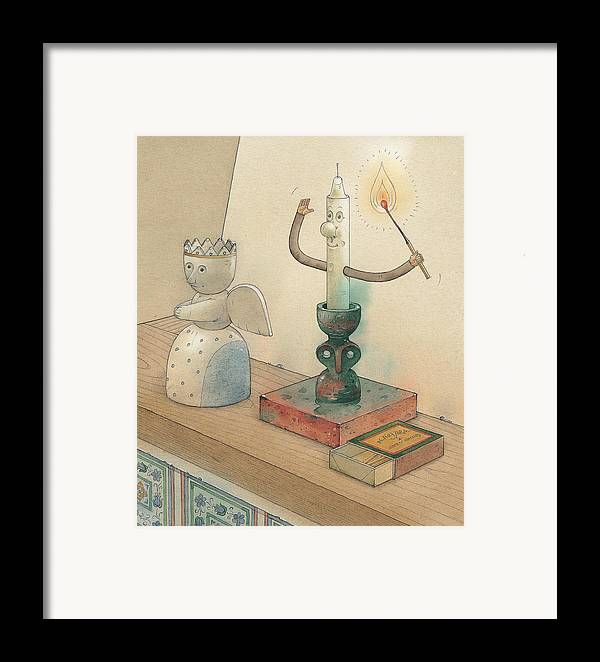 Candle Angel Evening Framed Print featuring the painting Candle by Kestutis Kasparavicius
