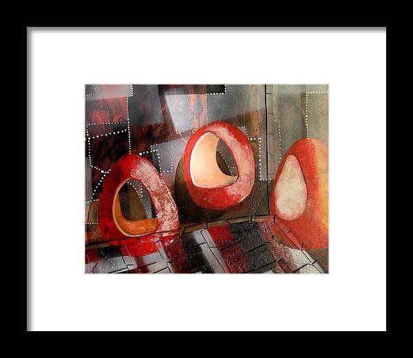 Framed Print featuring the painting Candleholders In A Confusion Room by Evguenia Men