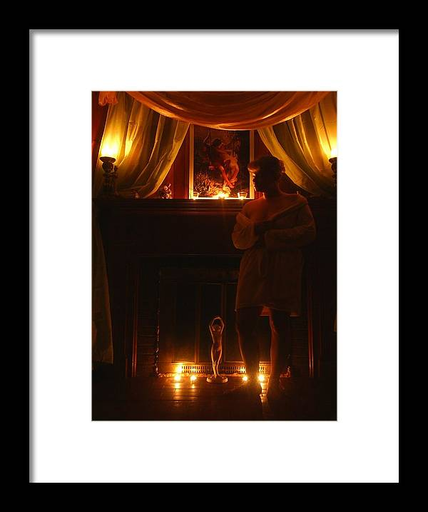 Woman Framed Print featuring the photograph Candlelight Glow by Scarlett Royal