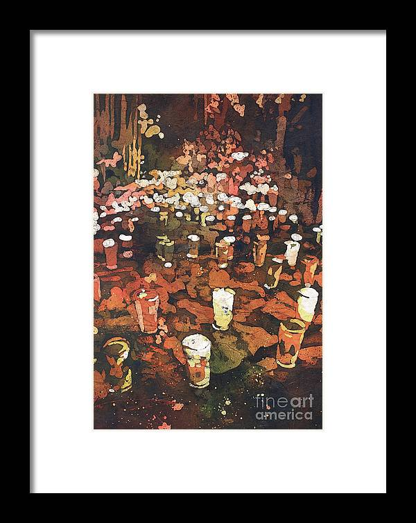 Cemeteries Framed Print featuring the painting Candles In Graveyard During Day Of The Dead In Patzcuaro, Mexico by Ryan Fox