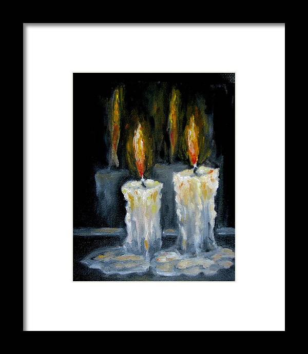 Candles Framed Print featuring the painting Candles Oil Painting by Natalja Picugina