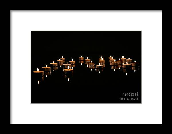 Candles.reflction Framed Print featuring the photograph Candles On Black by Agusta Gudrun Olafsdottir