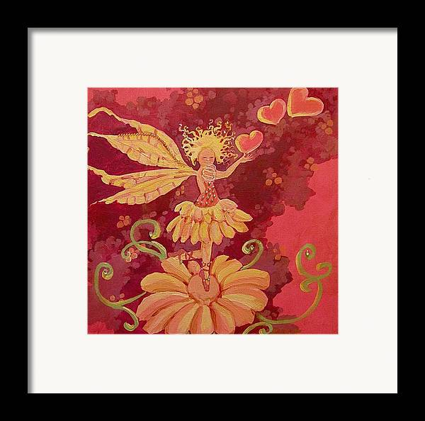 Fairy Hearts Pink Flower Framed Print featuring the painting Candy 1 by Jackie Rock