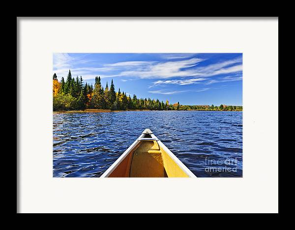 Canoe Framed Print featuring the photograph Canoe Bow On Lake by Elena Elisseeva