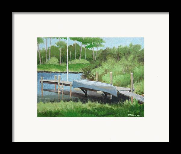 Canoe Framed Print featuring the painting Canoe Dock by Robert Rohrich