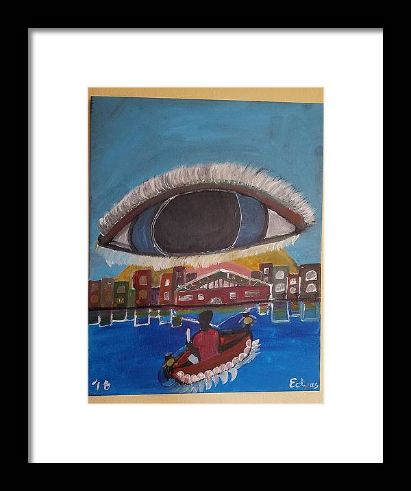 Town Framed Print featuring the painting Canoe by Elena Dyas