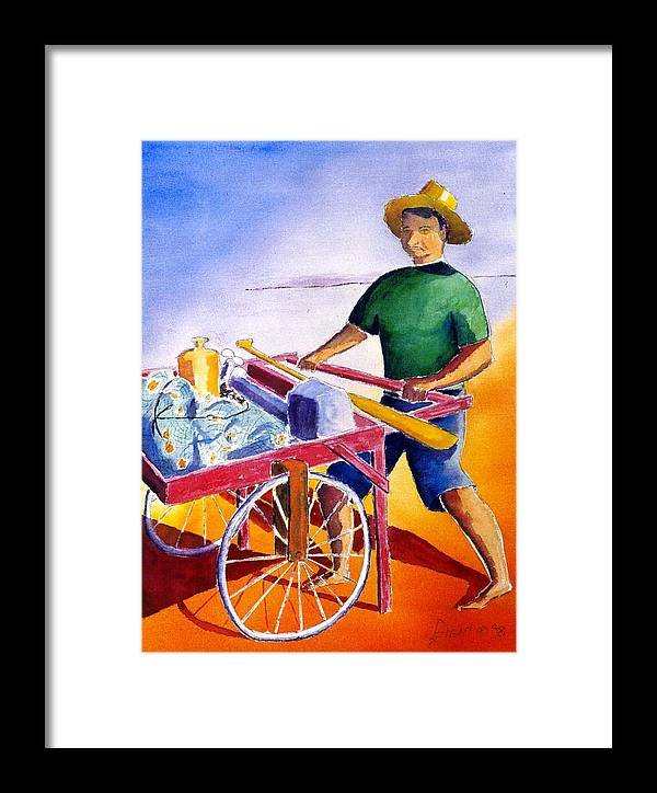 Fisherman Framed Print featuring the painting Canoe Fisherman With Cart by Buster Dight
