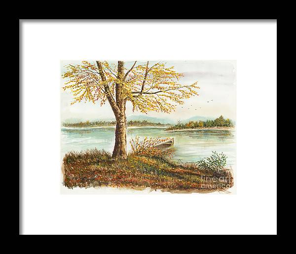 Canoe Framed Print featuring the painting Canoe Tied By Tree by Samuel Showman