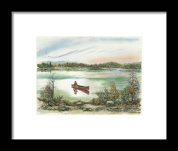 Waterscape Framed Print featuring the painting Canoeing On The Lake by Samuel Showman
