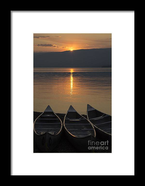 Canoes Framed Print featuring the photograph Canoes At Sunrise by Richard Reinders