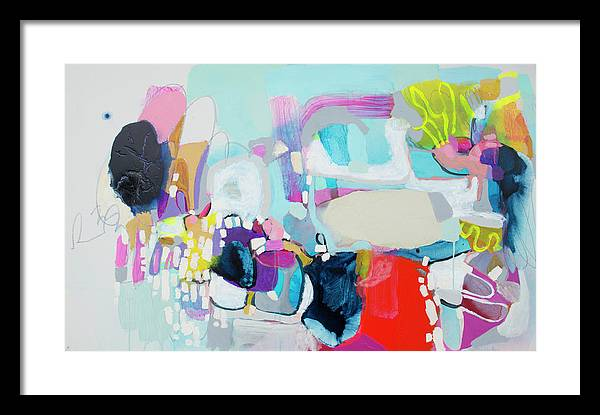 Abstract Framed Print featuring the painting Can't Wait by Claire Desjardins
