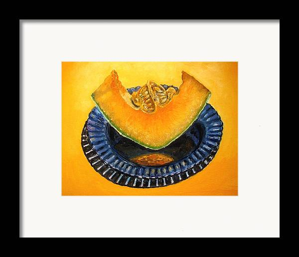 Cantaloupe Framed Print featuring the painting Cantaloupe Oil Painting by Natalja Picugina