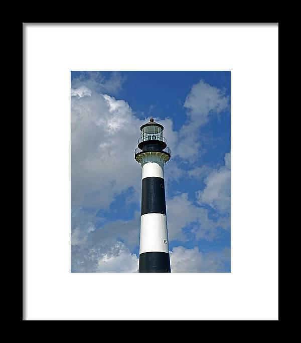 Lighthouse; Light; Canaveral; Cape; Cape Canaveral; Ccafs; Florida; East; Coast; Kennedy; Space; Cen Framed Print featuring the photograph Canveral Light Florida by Allan Hughes
