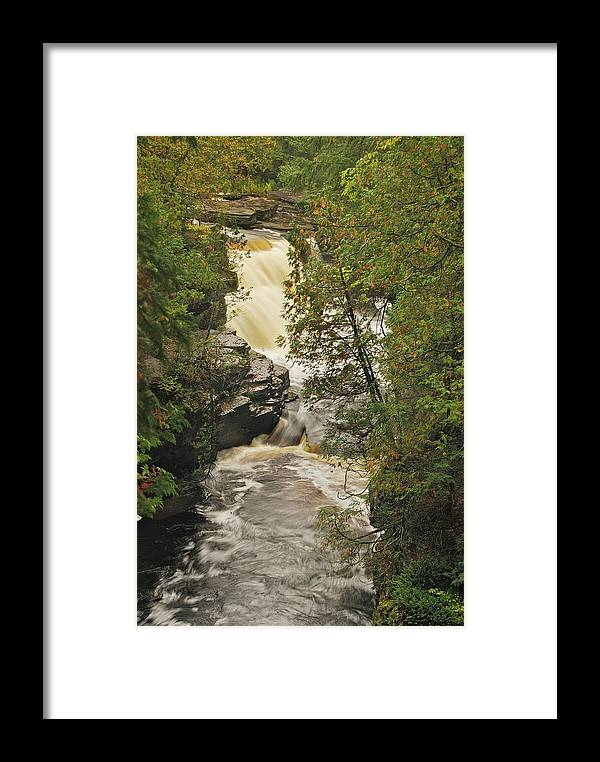 Michigan Framed Print featuring the photograph Canyon Falls 2 by Michael Peychich