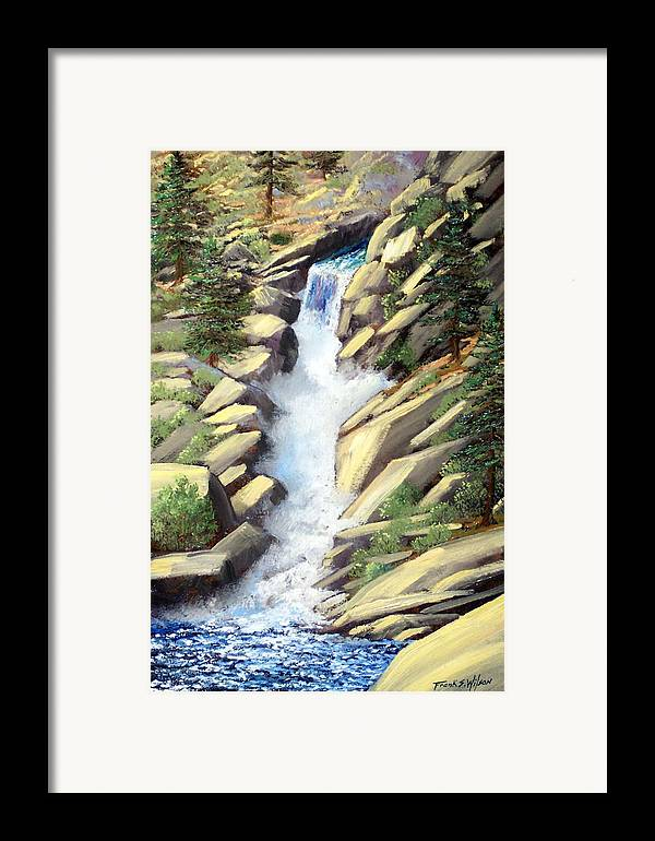 Landscape Framed Print featuring the painting Canyon Falls by Frank Wilson