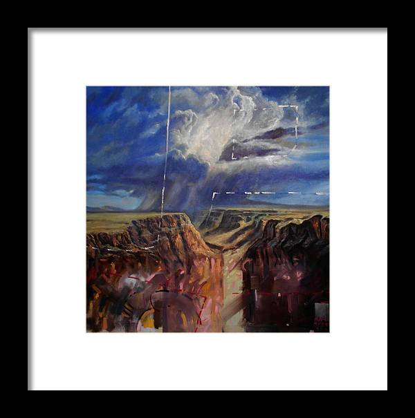 Landscape Framed Print featuring the painting Canyon by Flamur Miftari