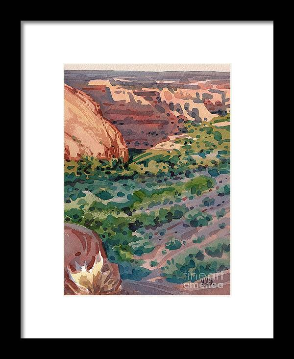 Canyon De Chelly Framed Print featuring the painting Canyon Shadows by Donald Maier
