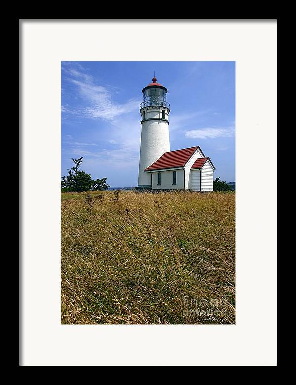 Lighthouse Oregon cape Blanco Light Coast Framed Print featuring the photograph Cape Blanco Light by Winston Rockwell