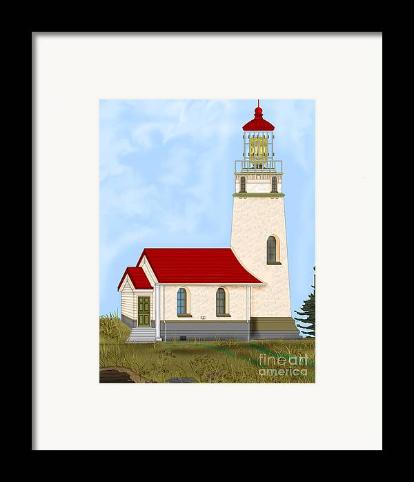 Lighthouse Framed Print featuring the painting Cape Blanco Oregon by Anne Norskog
