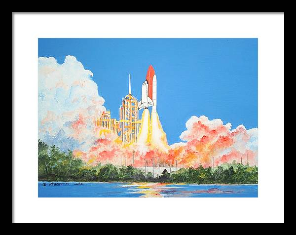 Space Framed Print featuring the painting Cape Canaveral by Dennis Vebert