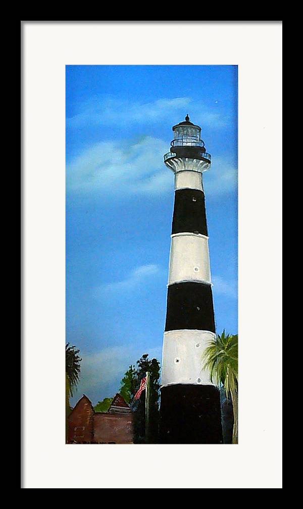 Cape Canaveral Lighthouse Framed Print featuring the painting Cape Canaveral Lighthouse by Darlene Green