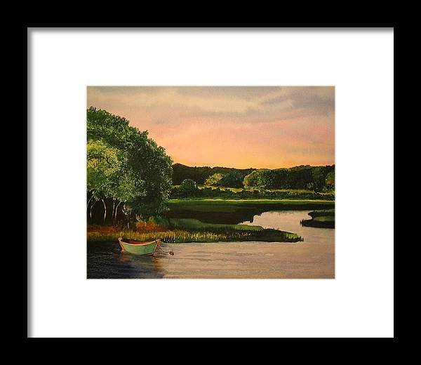Boat Framed Print featuring the painting Cape Cod Dory by Sharon Farber