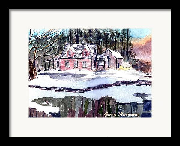 Landscape Cape Cod House Framed Print featuring the print Cape Cod House by George Markiewicz