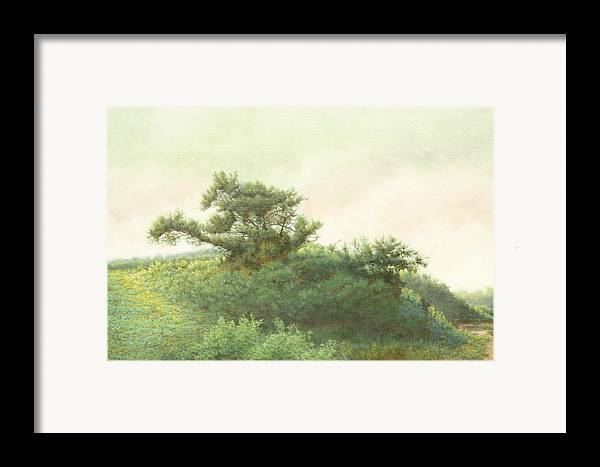Landscape Framed Print featuring the painting Cape Cod Scrub by Stephen Bluto