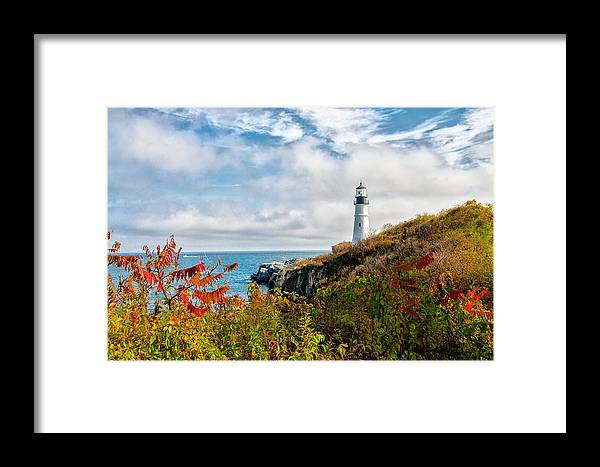 Cape Framed Print featuring the photograph Cape Elizabeth Maine - Portland Head Lighthouse by Bill Cannon