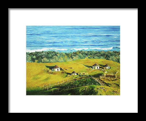 Oil Framed Print featuring the mixed media Cape Huts by Angel Art and Design