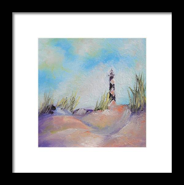 Lighthouse Framed Print featuring the painting Cape Lookout Lighthouse by Donna Pierce-Clark